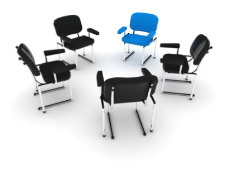 Chairs in a circle for a group meeting
